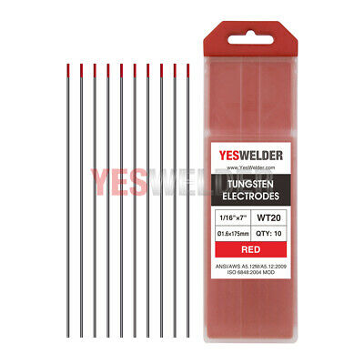 10pcs TIG Welding Tungsten Electrode WT20 Red Tip Rod 2% Thoriated 1.6x175mm