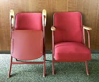 Vtg Folding Chair Stadium Theater Seating Wood Metal Upholstery Red MCM
