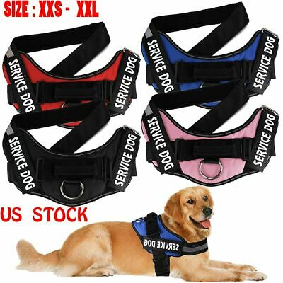 US Dog Harness Walk No Pull Vest tactical Heavy Duty Handle Collar Service Patch