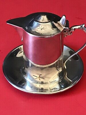 WALLACE Silverplate Lidded Syrup Sauce Creamer Attached Undertray M616
