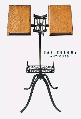 19Th C Antique Victorian Cast Iron & Oak Adjustable Dictionary Stand ~ Clean