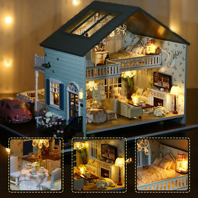 Kits DIY Wood Miniature Dollhouse Wooden Toys With Furniture Doll House kid Gift