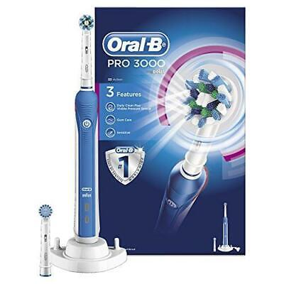 Braun Oral-B PRO 3000 Cross Action 3D Electric Rechargeable Toothbrush +2 Head