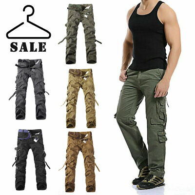 Mens Cargo Work Trousers Army Military Combat Multi Pockets Loose Canvas Pants