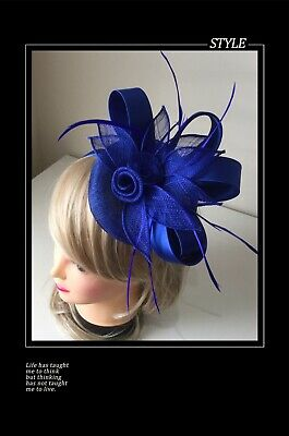 Classic Sinamay Fascinators Vintage Royal Blue Satin Flower Races Wedding Party