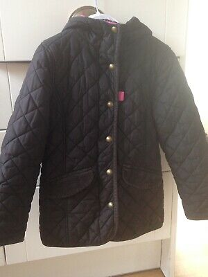 Joules Girls Quilted Coat Age 7 Black With Hood Pink Bird Print Lining