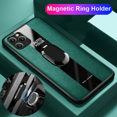 Magnetic Ring Holder Plastic+Glass Hybrid Case Cover for iPhone 11 Pro Max XR XS