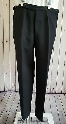 Vtg 50s/60s Pleated & Tapered Black Button Fly Thick Wool Trousers W38 L29 KH83