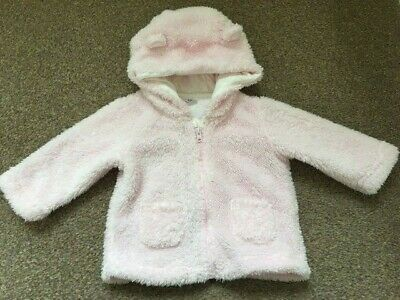 Baby Girls F&F Pink Fluffy Zip Up Hooded Jacket Cute Ears 3-6 Months B38