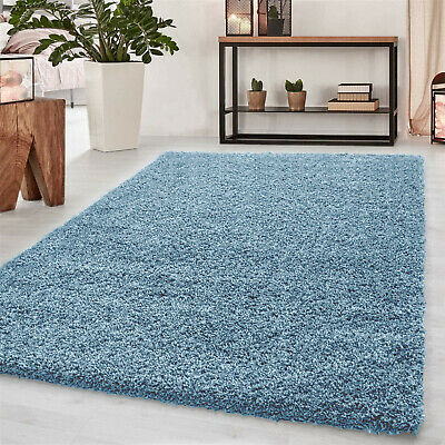 Shaggy Rug Fluffy Duck Egg Blue Soft Thick Bedroom Living Kid Room Floor Carpets