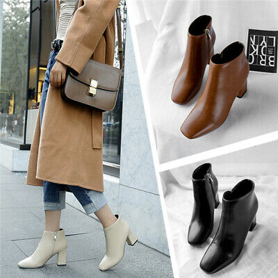 Ladies Square Toe Side Zip Smart Ankle Boots Women High Block Heels Office Shoes