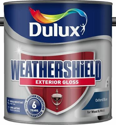 Dulux Weather Shield Exterior High Gloss Paint, 750 ml - Oxford Blue