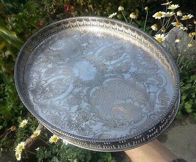 Antique Edwardian HASELER RESTALL Silver Plate on Copper Oval Drinks Salver Tray