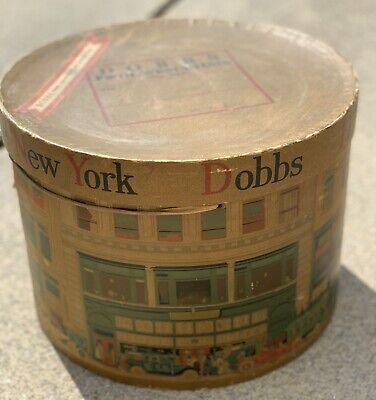 "Vintage DOBBS FIFTH AVENUE Hats New York Hat Box 9"" High x 12"" Round Dobbs & Co"