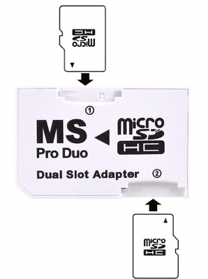 Micro Sd To Memory Stick Dual Port Pro Duo Adapter For Sony Psp 1000 2000 3000