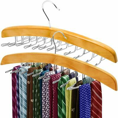 ANKO Tie Belt Hangers 2 Pack, Adjustable Rotating 24 Clip Scarf Racks Holder Hoo