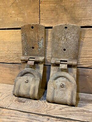 Two Antique Vintage Iron Door Rollers Hanger Cast Iron Track Nice Old Rusty Pair