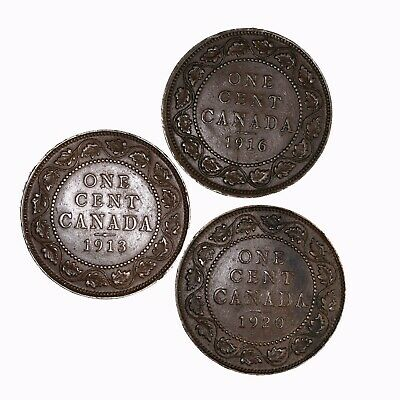Raw 4 Pack 1913 1916 1920 Canada 1C Copper Canadian Large Cent Coin Lot of 3