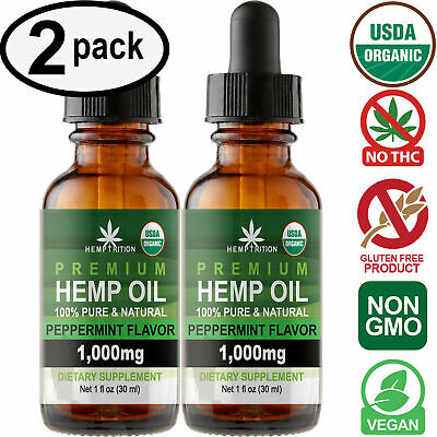 Peppermint Hemp Oil Extract for Pain Relief, Stress, Anxiety, Sleep (2 PACK)