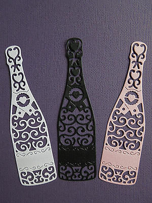 Champagne Bottle Die Cuts x 8 - made from Paper - Scrapbooking Card Topper