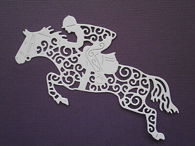 Horse & Rider Jockey Die Cuts x 8 - made from Paper - Scrapbooking Card Topper