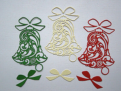 Christmas Bell Die Cuts x 8 - made from Paper - Scrapbooking Card Making Topper
