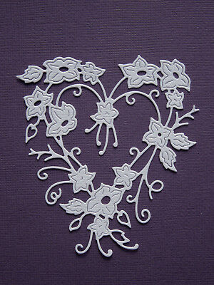 Flower Heart Die Cuts x 8 - made from Paper - Scrapbooking Card Making Topper