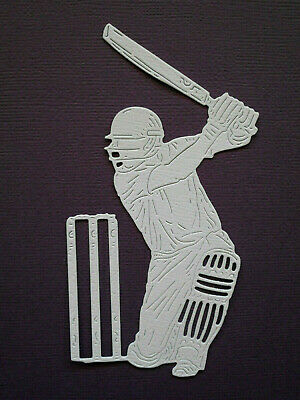 Cricketer Die Cuts x 8 Cricket Player - made from Paper Scrapbooking Card Topper