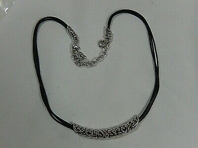 """Brighton Ornate Curved Silver Plated Slide On Triple Cord 16"""" To 18""""  Necklace"""