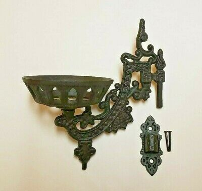 "9"" Cast Iron Wall Bracket For Oil Lamp Early American / Victorian Style 73805Jb"