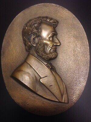 ABRAHAM LINCOLN Bust Wall PLAQUE   Solid Heavy Imperial Brass Co.