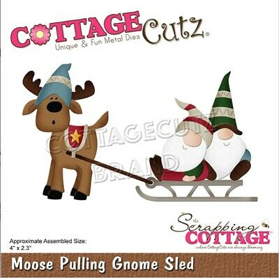 CottageCutz Moose Pulling Gnome Sled Metal Cutting Plate Die CC-681 Christmas