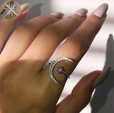 Ring Silver 925 Rings Fashion Wedding White Star Moon Shaped Sapphire Size6-10