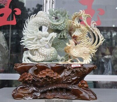 """16"""" Chinese 100% Natural XiuYan Jade Hand Carved Feng Shui Dragon phoenix statue"""
