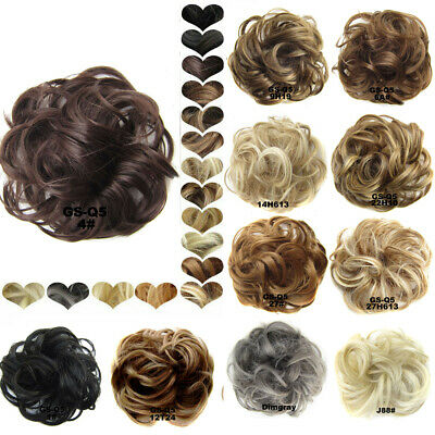 100% As Human Real Natural Curly Messy Bun Hair Piece Scrunchie Hair Extensions