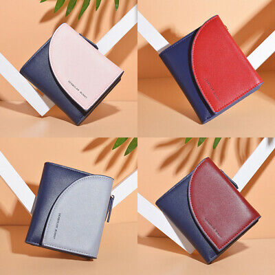 Lady Leather Small Short Bifold Wallet Bag Coin Purse Card Holder Zipper Clutch