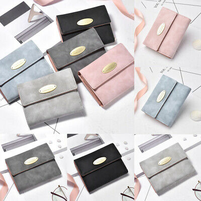 Vintage Women Frosted Trifold Small Wallet Clutch Card Holder Purse Lady Handbag