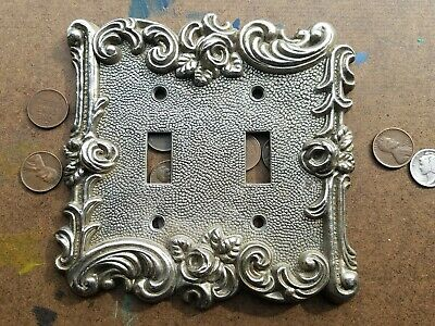 Vtg / 1967 / American Track & Hardware / Solid Brass / Dual Light Switch Plate
