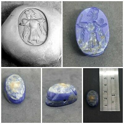 ancient lapis lazuli angel queen seal intaglio stone bead