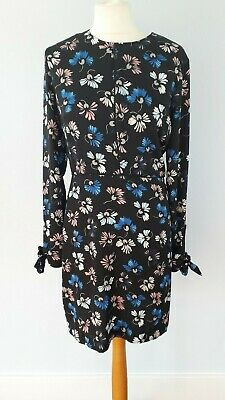Warehouse Size 10 Black Blue Pink Floral Long Sleeve Tie Dress Flared Autumn