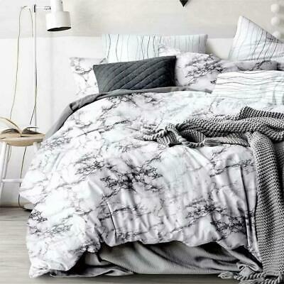 All Size Bed Ultra Soft Quilt Duvet Doona Cover Set Bedding Pillowcase Marble