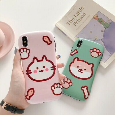 For iPhone 11 Pro Max XS XR 8 7 Cute Cat Dog Glossy Slim Soft Rubber Case Cover