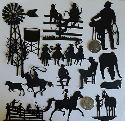 🤠  10 A x COUNTRY AND WESTERN COWBOYS and HORSES DIE CUTS ~240 gsm Card