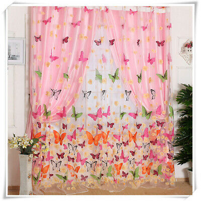 1xFlower Mariposa Visillo de Voile Fino Ventana Divisor Panel Pantallas Decor