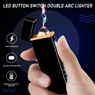Cool Dual Arc Electric USB Lighter Flameless Cigarette Lighter Rechargeable Gift