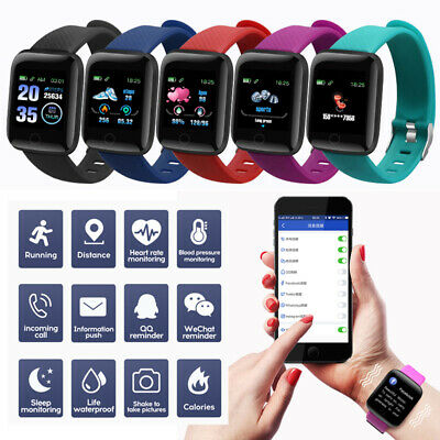 Smart Watch Bluetooth Heart Rate Blood Pressure Monitor Fitness Tracker 4 Colour