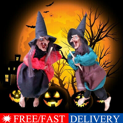 12in Halloween Hanging Animated Talking Witch Props Laughing Sound Control Decor