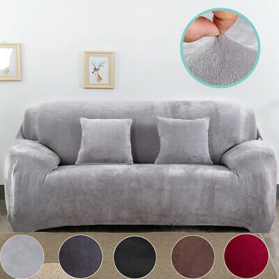 12/3/4 Seater Elastic Sofa Covers Slipcover Settee Stretch Velvet Protector UK