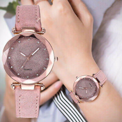 Fashion Women Lady PU Leather Rhinestone Analog Quartz Wrist Watches Bracelet E