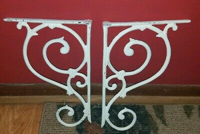 PAIR Of Antique White CAST IRON Shelf Brackets CORBELS Architectural SCROLL!